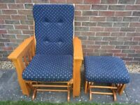 Wooden Glider Rocking Chair & Rocking Stool Blue Fabric