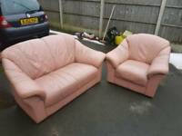 2+1 seater leather sofa plus free local delivery in leicester