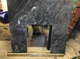 Fireplace Black/grey fire marble backing