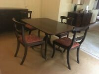 Set of 4 Victorian mahogany dining chairs and mahogany dining table