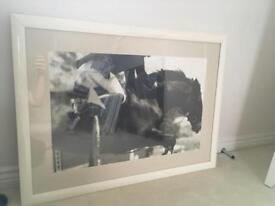 Large cream frame with horse print