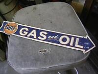 GULF GAS & OIL DECORATIVE TIN ARROW SIGN $40.00