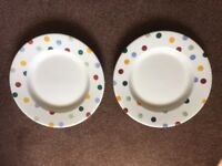 2 Emma Bridgewater Polka Dot dinner plates - Used and Seconds