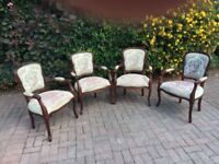 4 reproduction mahogany chairs with embroidered covers