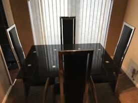 Black glass extendable table