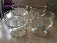 Set of 4 glass dessert dishes. (2 sets available)