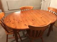 Solid Pine Kitchen/Dining Table & 4 Chairs