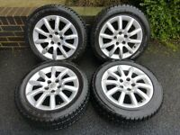 "VAUXHALL ASTRA H ALLOY WHEELS X 4 WITH WINTER TYRES 16"" INCH ALLOYS 5 STUD"