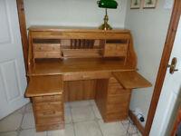 """Rolltop Desk - American Oak - Light Oak - 48"""""""