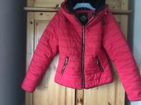 Red Padded Jacket. Size S (8/10) has a hood in zip collar. Excellent condition as hardly worn