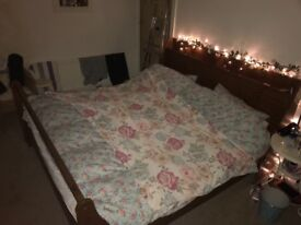 Super king size wooden bed with mattress