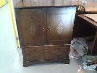 TV Cabinet, antique, solid oak, carved door. It can be changed into a wardrobe