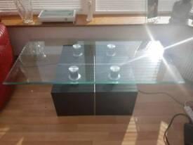 Black & chrome contemporary coffee table.