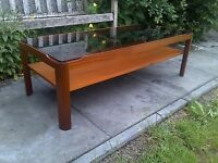 Large Quality Mid Century Myer Teak And Glass Coffee Table