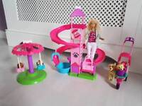 Barbie Play and Spin set with puppy goes walkies pram.