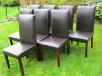 Set of 8 Dining Chairs - Leather (Faux) with High Backs