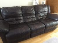 Large 3 seater leather electric recliner