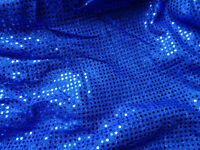 Blue, Black, Olive Green & Turquoise 3mm Sequin American Knit Fabric