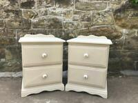 Solid pine Bedside tables in cream