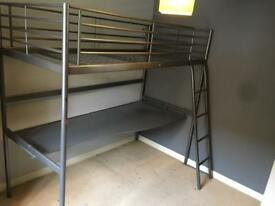 ILEA grey metal loft bed and desk