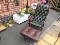 Vintage rare Chesterfield Green leather rocking chair/brown leather retro 70s footstool both superb