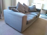 Chunky settee in mocha velour loose covers