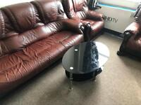 Leather Sofa, coffee table and dining table with chairs