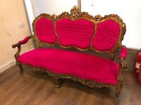 Beautiful ornate bright pink couch