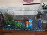 90ltr Fish Tank. Comes with over tank light, filter, air pump, gravel, food & bits