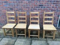 Solid Oak Dining Table Chairs x4 (used but in good condition)
