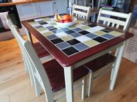 Wood tiled table + 4 Chairs - Upcycled & Unique