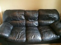 Leather Sofa 3 & 2 seater FREE. Couple of faults (see pictures) need gone.