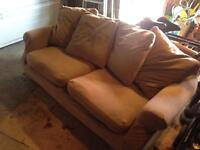 3 seater cushion backed sofa yellow with brown cover feather filled