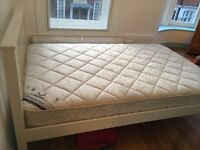 3/4 double bed (small double) frame and mattress (almost new)