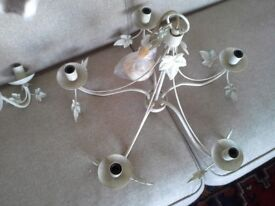 John Lewis modern 5 arm chandelier and two matching wall lights.