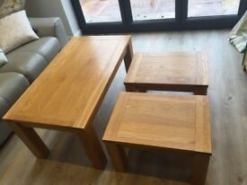 Solid Oak coffee table with two smaller tables