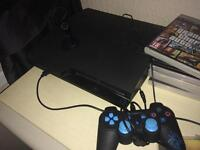 PS3 slim with headset and 6 games, 1 controller!