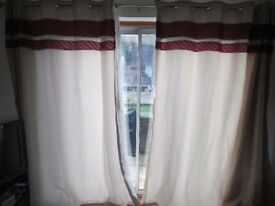 Pair of Dunelm Mill red and cream striped curtains for patio door ring top. Long drop