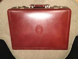Yves Saint Laurent Maroon Leather Brief Case