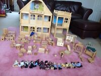 £55 Wooden ELC Dolls House, extension, furniture, car and people, great used condition!