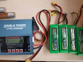 4 drone batterys and charger multistar 4.0 rc dji