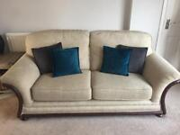 3 piece cream and brown sofa