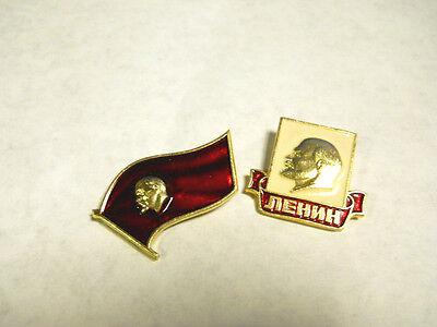 USSR Soviet Russia Communist Propaganda Lenin Pin Badges - Set of 2
