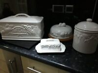 Marks & Spencers Complete set in white Bread bin cheese board butter dish biscut pot