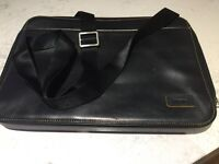 Laptop black leather case