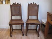 Pair of Beautiful Vintage Decoratively Carved Wood Chairs - Probably Dutch - Made of Walnut