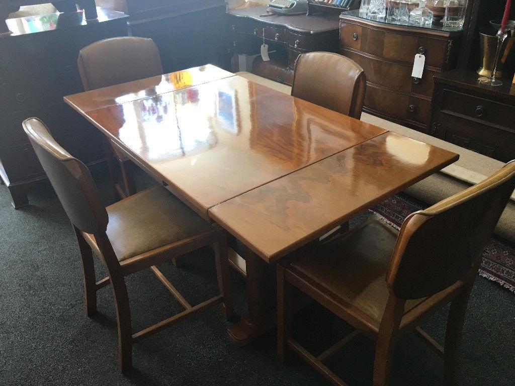 Fine Vintage Art Deco Golden Walnut Veneer Draw Leaf Twin Pedestal Dining Table 4 Matching