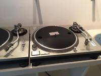 Technics SL1200's record decks with cartridges