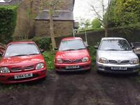 Choice of 3 Nissan Micra 12 Months Mot. 5 door. PAS. Nationwide Delivery. not starlet corolla export