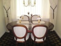 Real wood extendable table & 4 chairs